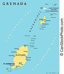 Barbados grenada saint lucia saint vincent political map