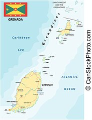 grenada road map with flag