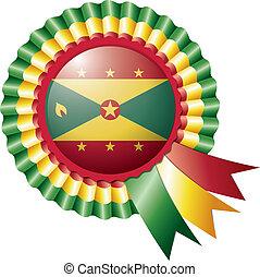 Grenada detailed silk rosette flag, eps10 vector illustration