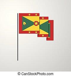 Grenada waving Flag creative background