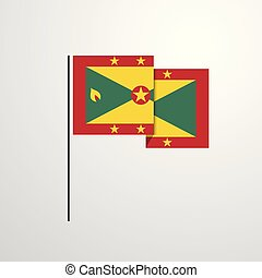 Grenada waving Flag design vector background