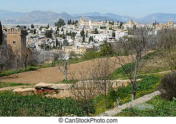 grenade, albaicin, alhambra, andalousie, vu, espagne