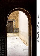 grenade, ancien, porte, palais, alhambra., arabe, voûte, espagne