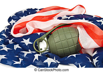 Grenade and American flag