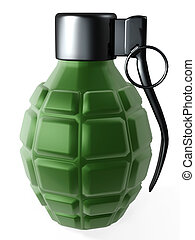 grenade - 3d hand hold grenade for war isolated on white...