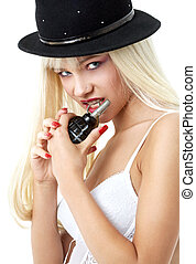 grenade girl - lovely blond with grenade over white...