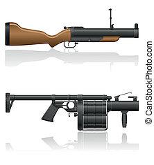 grenade-gun, vecteur, illustration