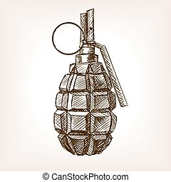 Grenade hand drawn sketch vector illustration