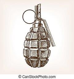 Grenade hand drawn sketch vector illustration