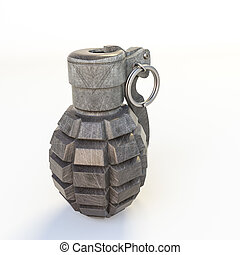 grenade isolated on white background 3d illustration