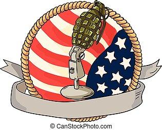 Grenade Microphone USA Flag Circle Retro