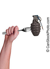 Grenade on fork isolated over a white background