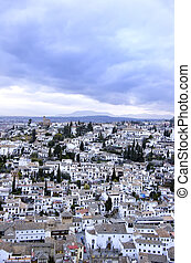 grenade, palais, albaicin, alhambra, vu, espagne