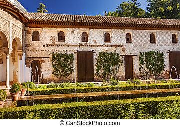 grenade, palais, alhambra, andalu, fontaine, blanc, jardin, generallife