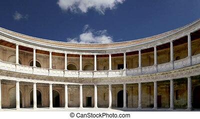 grenade, palais, alhambra, v, renaissance, carlos, espagne