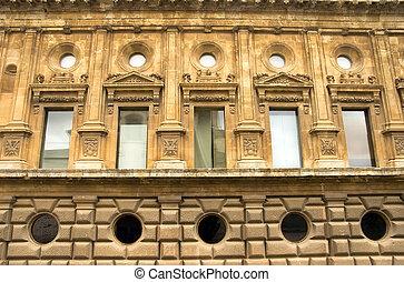 grenade, palais, espagne, v, façade, carlos