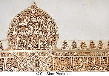 grenade, palais, mur, alhambra., ornement, arabe