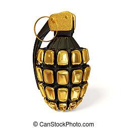 grenade - gold grenade on white background