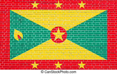 Flag of Grenada on brick wall texture background