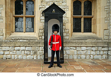 Grenadier Guard in stance - Grenadier guards at attention in...