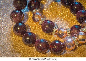 grenat, hematite, bracelet, or, rose