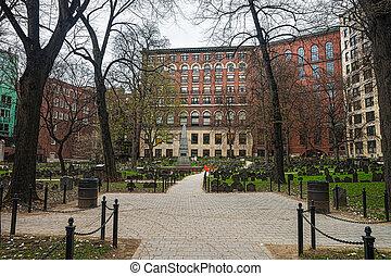 grenier, cimetière, dans, tremont, rue, dans, boston