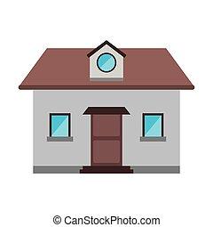 grenier, fenêtre, devant, maison, dessin animé, vue