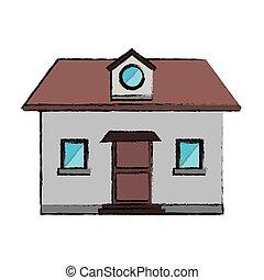 grenier, fenêtre, devant, maison, dessin, vue