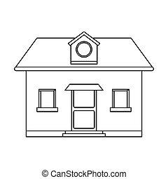 grenier, fenêtre, devant, maison, vue, rond, contour