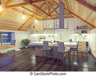 grenier, intérieur, moderne, cuisine