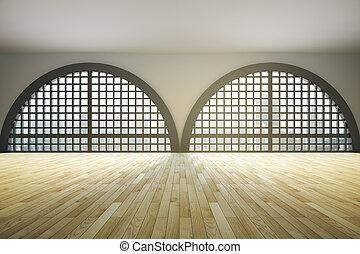 Large bureau plancher bois grenier intérieur dessin