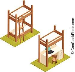 grenier, isométrique, illustration., lit, couchette