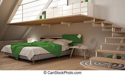 Minimaliste, grenier, classique, mezzanine, vert,... dessin ...