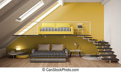Minimaliste, grenier, classique, mezzanine, jaune,... image ...