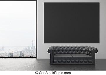 grenier, mur, sofa, vide, plancher, haut, cuir, fenêtre, noir, affiche, railler, salle