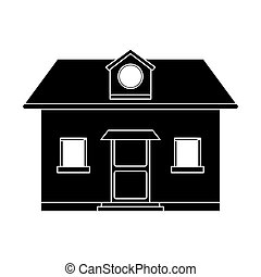 grenier, pictogramme, fenêtre, devant, maison, vue