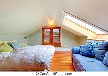 grenier, plafond, bas, chambre à coucher
