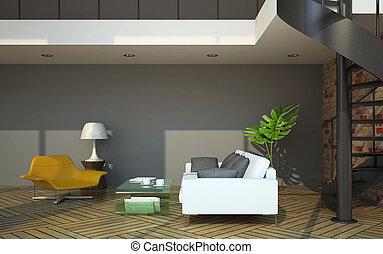 grenier, plancher, moderne, seconde, partie, intérieur