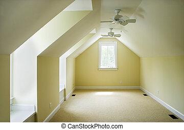 grenier, vide, chambre à coucher