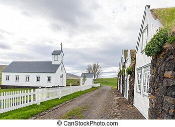 Grenjadarstadakirkja church in the countryside of Iceland