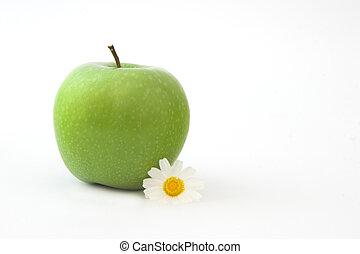 Grenn Apple with a flower