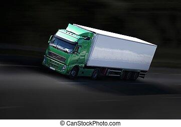 grenn, nero, autostrada, semi-camion