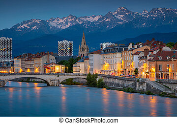 Grenoble. - Cityscape image of Grenoble, France during ...