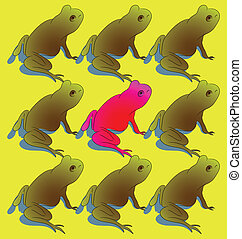 grenouille, dehors, stands, foule, oser