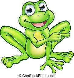 grenouille, dessin animé, pointage