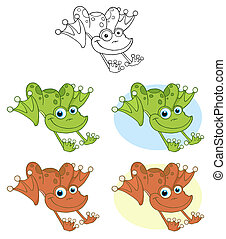grenouille, hopping., collection