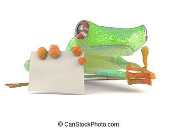 grenouille verte, à, a, signe blanc, pouces haut, 3d, illustration