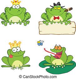 grenouilles, 1, ensemble, caractères, collection