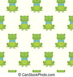 grenouilles, modèle, seamless, arc, vecteur, cravate, heureux, dessin animé, gentil
