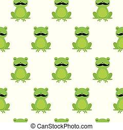 grenouilles, modèle, seamless, vecteur, heureux, dessin animé, moustache, gentil